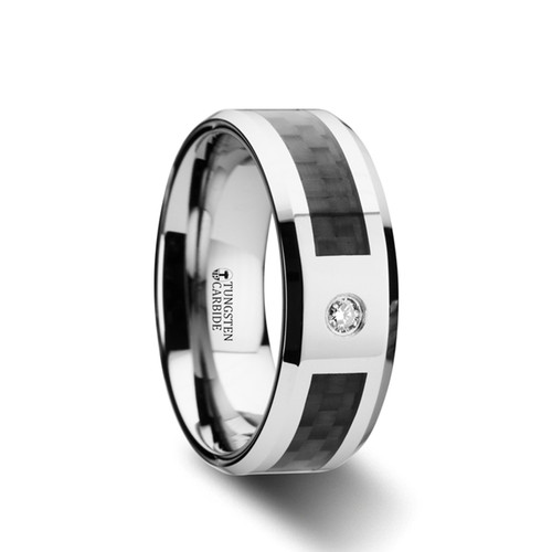 Onobrychis Tungsten Carbide Band with Black Carbon Fiber & White Diamond at Rotunda Jewelers