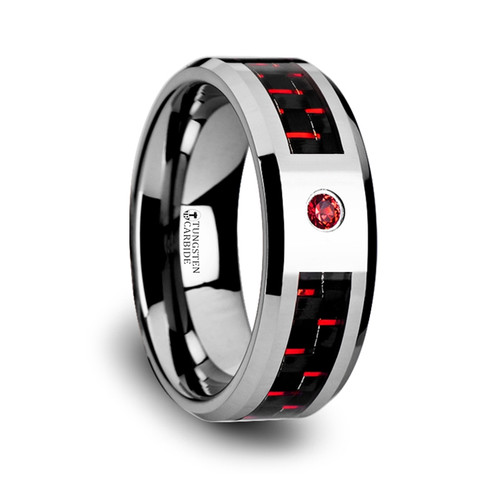 Milk Tungsten Carbide Wedding Band with Black & Red Carbon Fiber Inlay and Red Diamond at Rotunda Jewelers