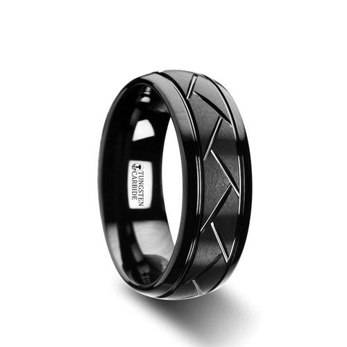 Chamomile Domed Black Tungsten Band with Brushed Diagonal Pattern at Rotunda Jewelers