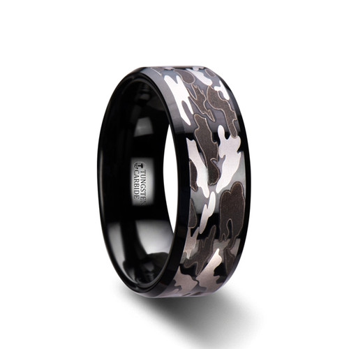 Pincushion Black Tungsten Carbide Band with Black and Gray Camouflage Pattern at Rotunda Jewelers
