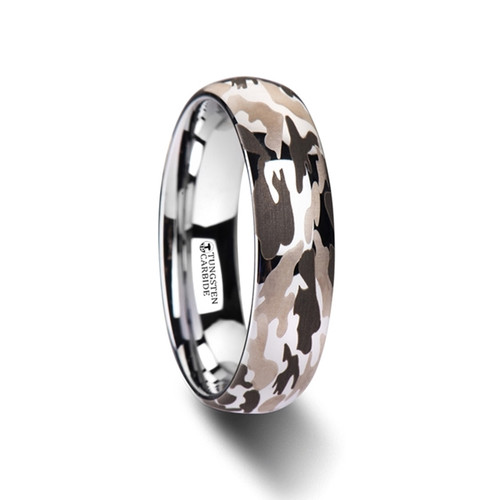 Nemophila Domed Tungsten Carbide Band with Black & Gray Camouflage Pattern at Rotunda Jewelers