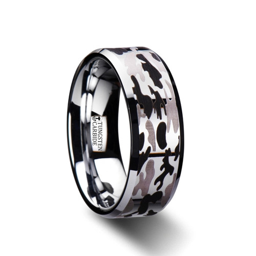 Leopard Tungsten Carbide Band with Black & Gray Camouflage at Rotunda Jewelers
