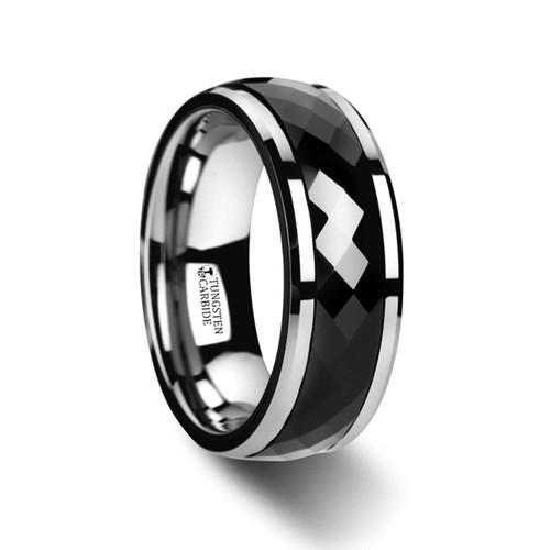 Xylobium Polished Diamond Faceted Black Ceramic Spinning Band at Rotunda Jewelers