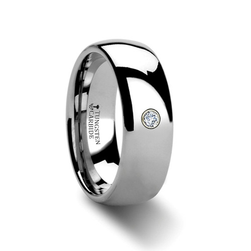 Keek Rounded Tungsten Band with Diamond at Rotunda Jewelers