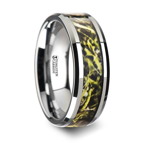 Sainfoin Tungsten Carbide Wedding Band with Green Marsh Camouflage Inlay at Rotunda Jewelers