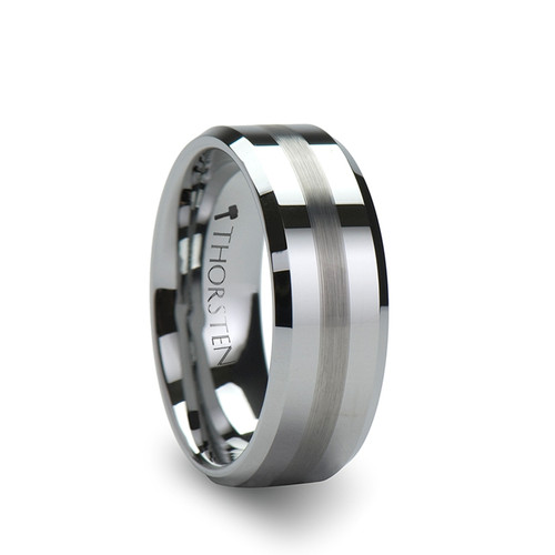 Creek Tungsten Carbide Band with Brushed Stripe at Rotunda Jewelers