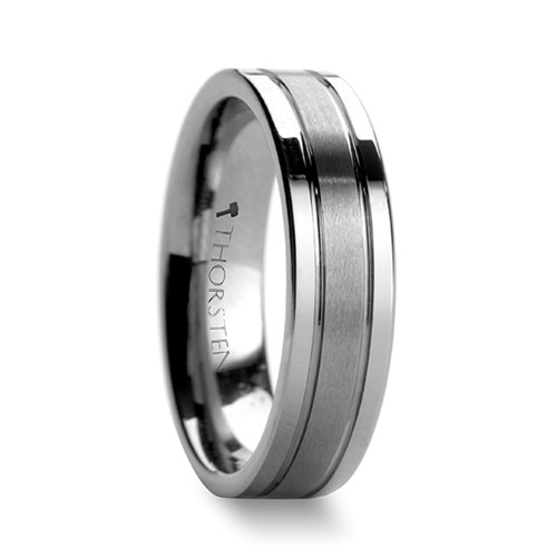 Delphinium Flat Tungsten Carbide Brushed Ring with Grooves at Rotunda Jewelers