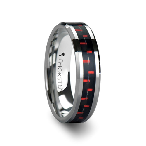 Tussilago Tungsten Carbide Band with Black & Red Carbon Fiber Inlay at Rotunda Jewelers