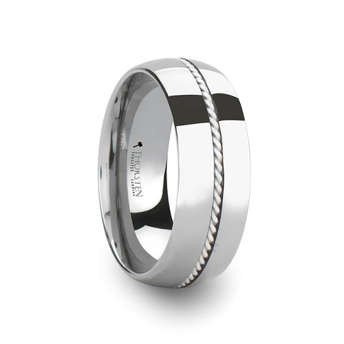 Evening Domed Tungsten Carbide Band with Braided Silver Inlay at Rotunda Jewelers