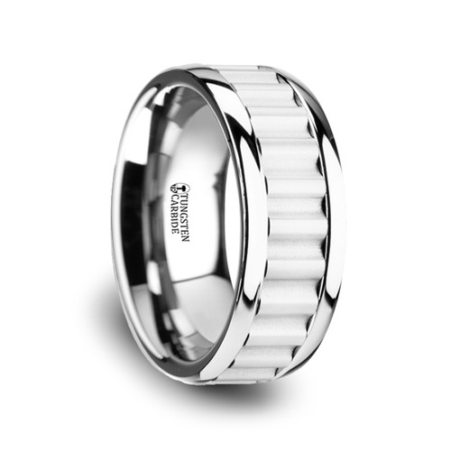 Grape Tungsten Carbide Wedding Band with Gear Teeth Inlay at Rotunda Jewelers