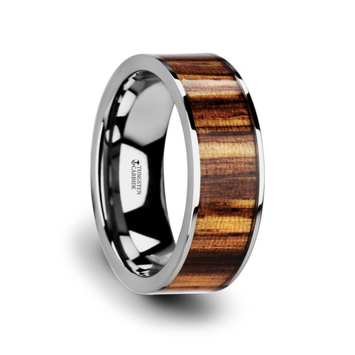 Cynodon Flat Tungsten Carbide Band with Real Zebra Wood Inlay at Rotunda Jewelers