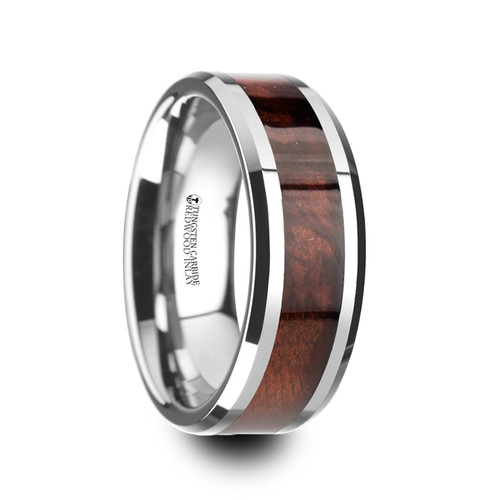 Rosemary Red Wood Inlay Tungsten Carbide Band with Bevels at Rotunda Jewelers