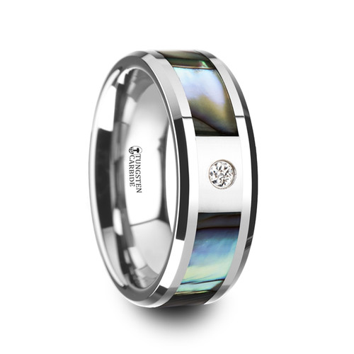 Blazing Tungsten Carbide Band with Mother of Pearl Inlay & White Diamond at Rotunda Jewelers