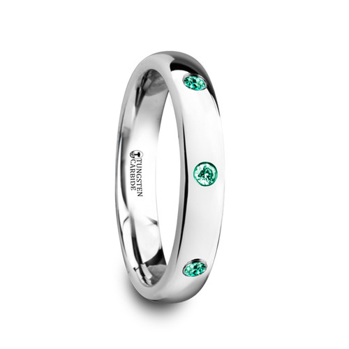 Cazneaux Polished and Domed Tungsten Carbide Wedding Band with 3 Green Emeralds at Rotunda Jewelers