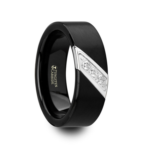 Canada Flat Black Satin Finished Tungsten Carbide Wedding Band with Diagonal Diamonds Set in Stainless Steel at Rotunda Jewelers