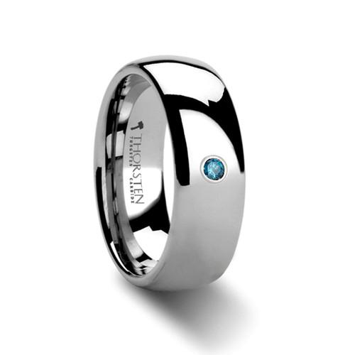 Huckleberry Domed Blue Diamond Tungsten Carbide Ring at Rotunda Jewelers