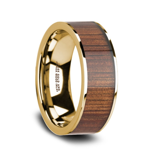 Bee 14k Pipe Cut Yellow Gold Band Wedding Band with Rare Koa Wood Inlay at Rotunda Jewelers