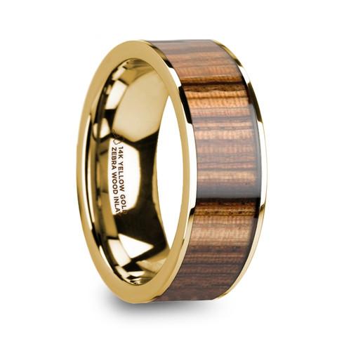 Eytelia 14k Yellow Gold Polished Wedding Band with Zebra Wood Inlay at Rotunda Jewelers