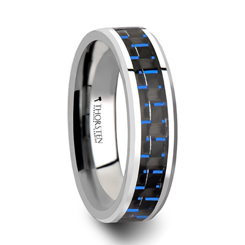 Scilla Tungsten Carbide Ring with Black & Blue Carbon Fiber Inlay at Rotunda Jewelers