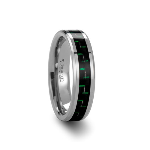 Thousandleaf Tungsten Carbide Band with Black & Green Carbon Fiber Inlay at Rotunda Jewelers