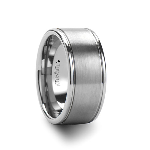 Ebustrone Wide Pipe Cut Brush Finished Center Tungsten Carbide Ring at Rotunda Jewelers