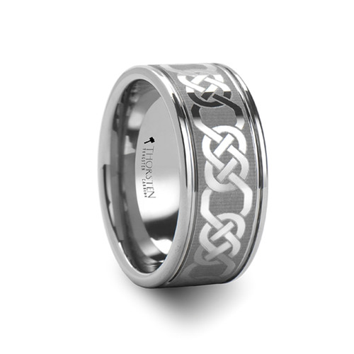 Meadow Celtic Laser Engraved Tungsten Carbide Ring at Rotunda Jewelers