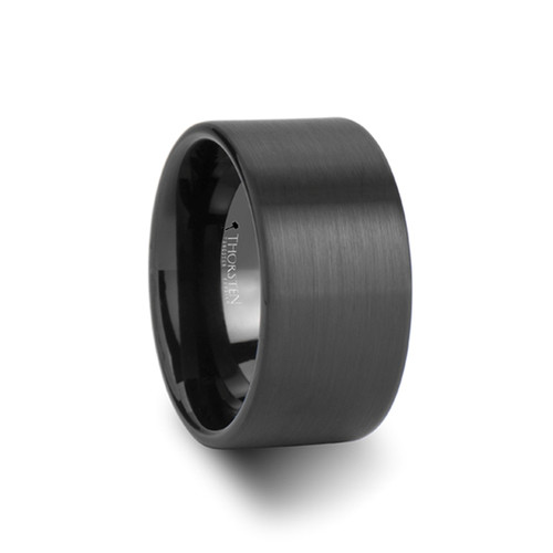 Diesapter Pipe Cut Black Tungsten Carbide Band with Brushed Finish at Rotunda Jewelers