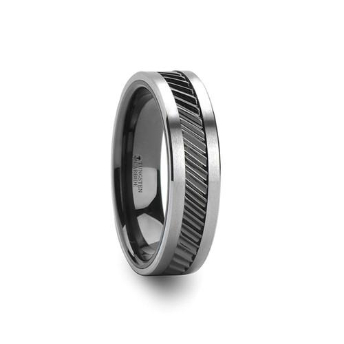 Manteia Gear Teeth Pattern Black Ceramic and Tungsten Carbide Ring at Rotunda Jewelers