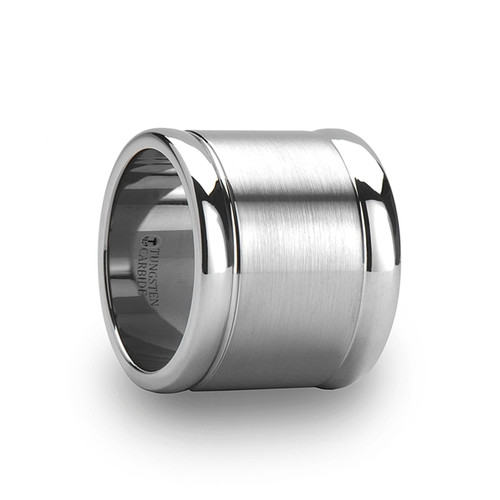 Azila Brushed Finish Center Flat Tungsten Carbide Band at Rotunda Jewelers
