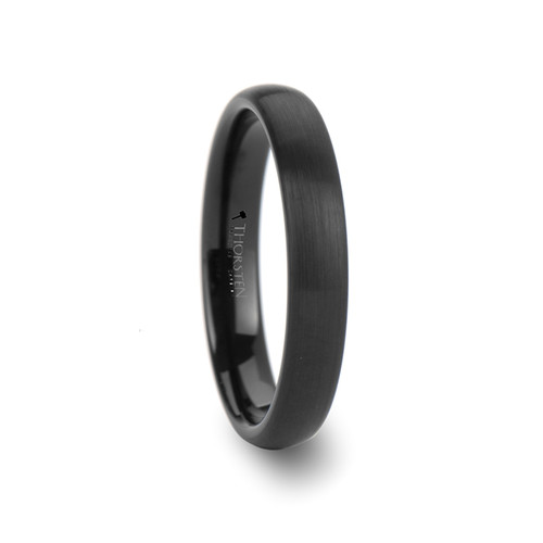 Aster Round Black Tungsten Carbide Band with Brushed Finish at Rotunda Jewelers