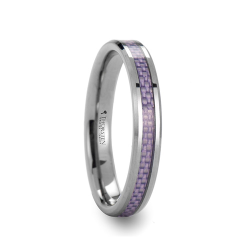 Flower Tungsten Carbide Band with Purple Carbon Fiber Inlay at Rotunda Jewelers