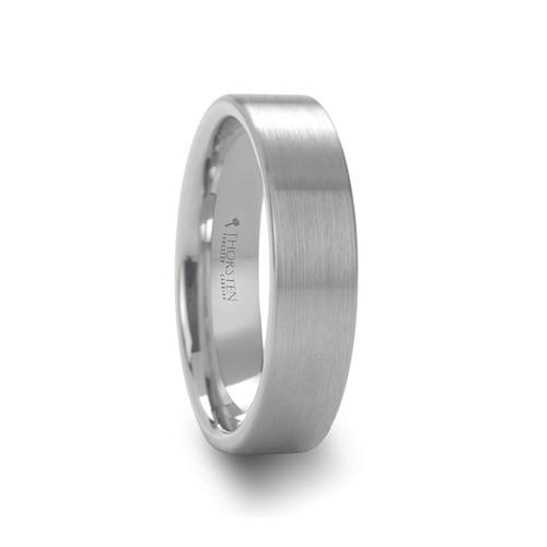Helleborine Pipe Cut Brushed White Tungsten Carbide Ring at Rotunda Jewelers