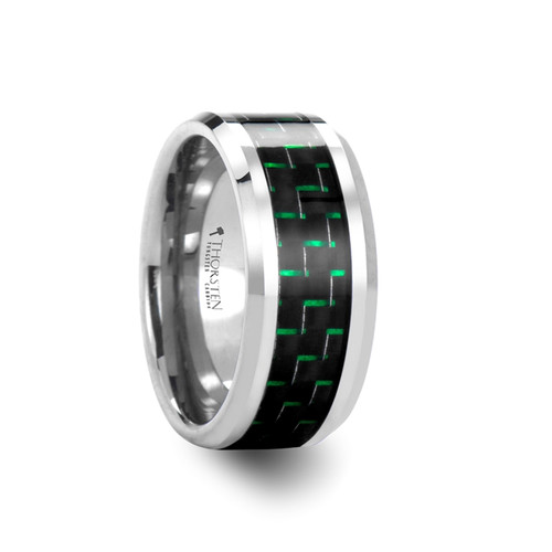 Easter Tungsten Carbide Band with Black & Green Carbon Fiber Inlay at Rotunda Jewelers