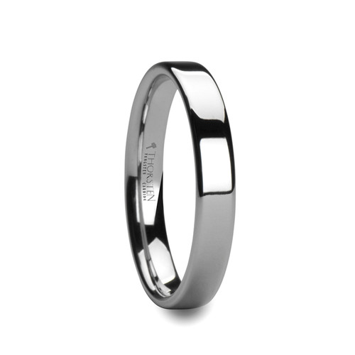 Appalachian Pipe Cut White Tungsten Carbide Band with Polished Finish at Rotunda Jewelers