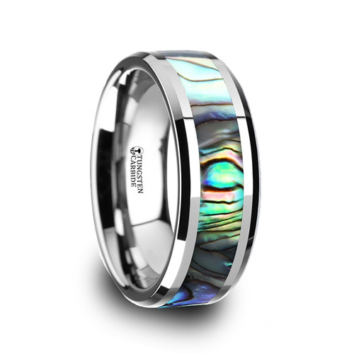 Beet Tungsten Carbide Band with Mother of Pearl Inlay at Rotunda Jewelers