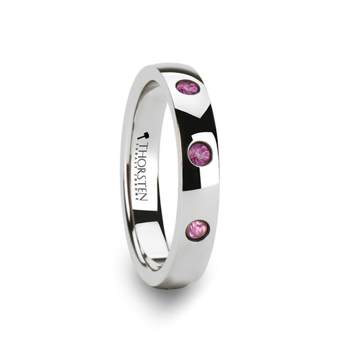 Amy Rounded White Tungsten Wedding Band with 3 Pink Sapphires at Rotunda Jewelers