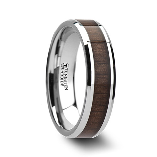 Coast Tungsten Carbide Band with Black Walnut Wood Inlay at Rotunda Jewelers