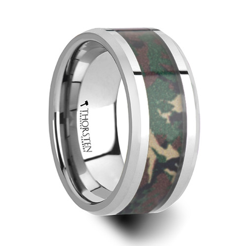 Whiskey Tungsten Wedding Band with Military Style Jungle Camouflage Inlay at Rotunda Jewelers