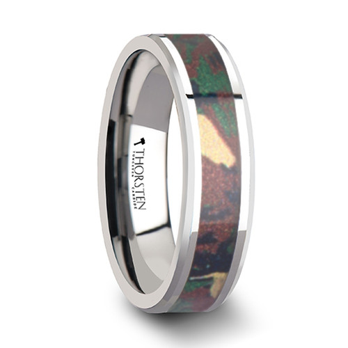 Columbine Tungsten Wedding Band with Military Style Jungle Camouflage Inlay at Rotunda Jewelers