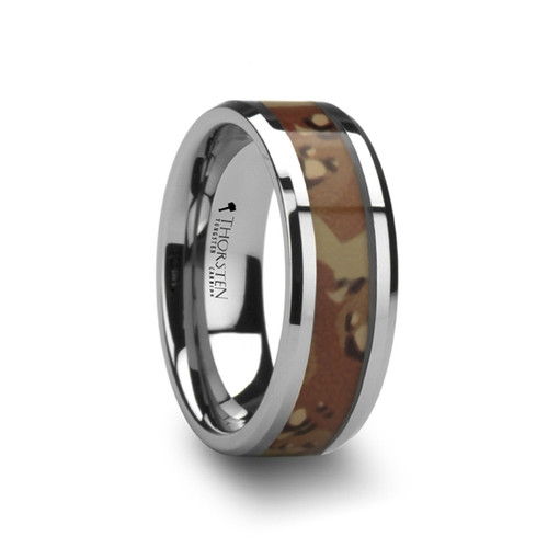 Perennial Tungsten Wedding Band with Military Style Desert Camouflage Inlay at Rotunda Jewelers