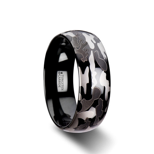 Wayside Domed Black Tungsten Carbide Band with Black & Gray Camouflage Pattern at Rotunda Jewelers