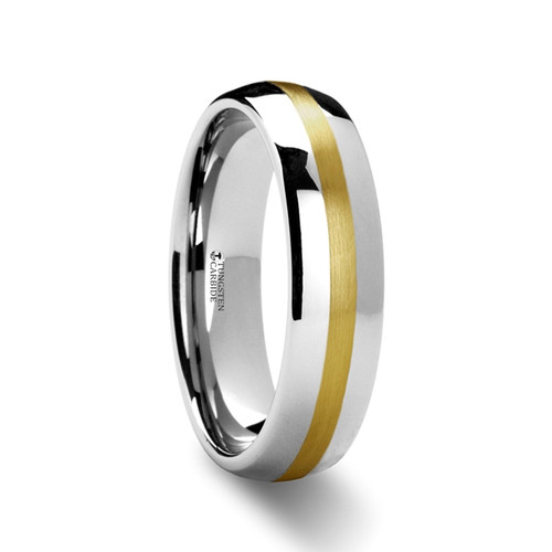 France Rounded Tungsten Carbide Band with Gold Inlay at Rotunda Jewelers