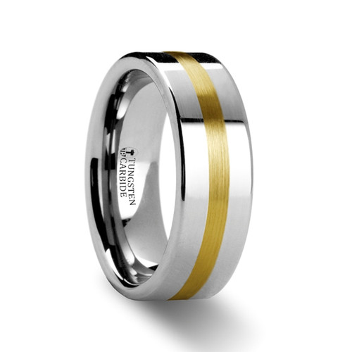 Paintbrush Gold Inlay Flat Tungsten Ring at Rotunda Jewelers