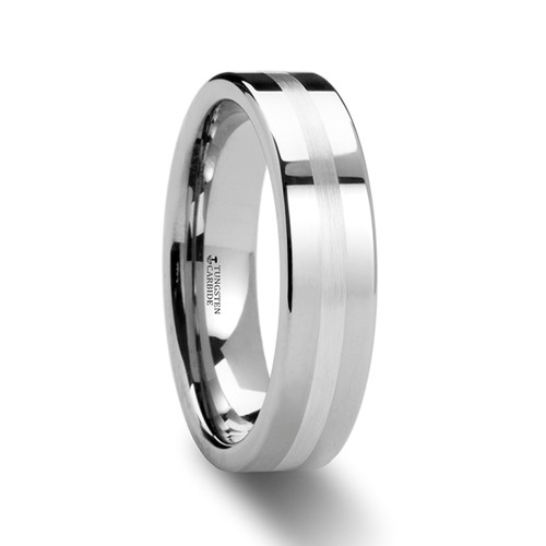 Eustoma Pipe Cut Tungsten Carbide Band with Silver Inlay at Rotunda Jewelers