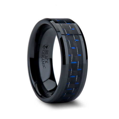 Bergenia Black Ceramic Band with Blue & Black Carbon Fiber Inlay at Rotunda Jewelers