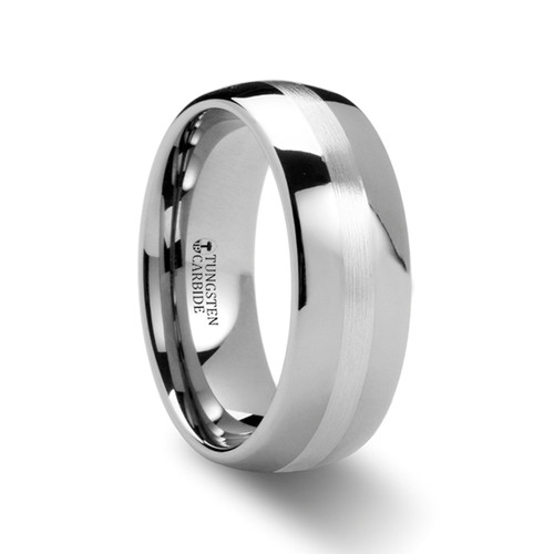Ranunculus Silver Inlay Domed Tungsten Ring at Rotunda Jewelers