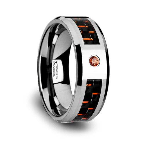 Isle Tungsten Band with Black & Orange Carbon Fiber and Orange Padparadscha at Rotunda Jewelers