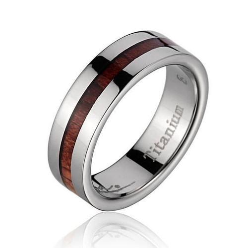 Titanium Ring with Hawaiian Koa Wood Inlay