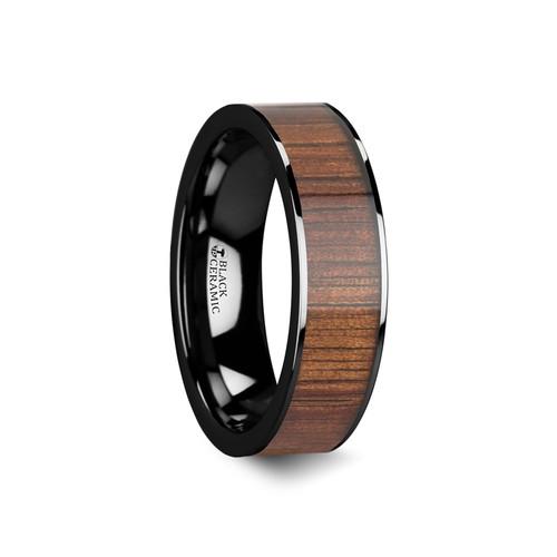 Elegant Polished Black Ceramic Wedding Band with Koa Wood Inlay at Rotunda Jewelers