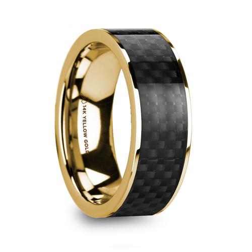 Cucurbita Polished 14k Yellow Gold Men's Wedding Band with Black Carbon Fiber Inlay at Rotunda Jewelers
